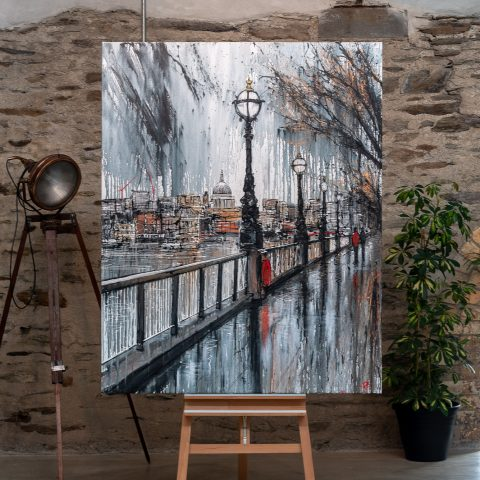 Thames Stroll - A London cityscape original painting by Paul Kenton