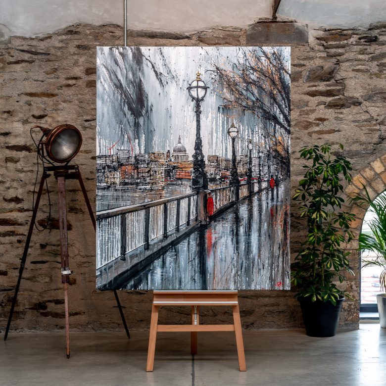 Thames Stroll by Paul Kenton, UK contemporary cityscape artist, An Original Painting of Southbank London from his London Collection