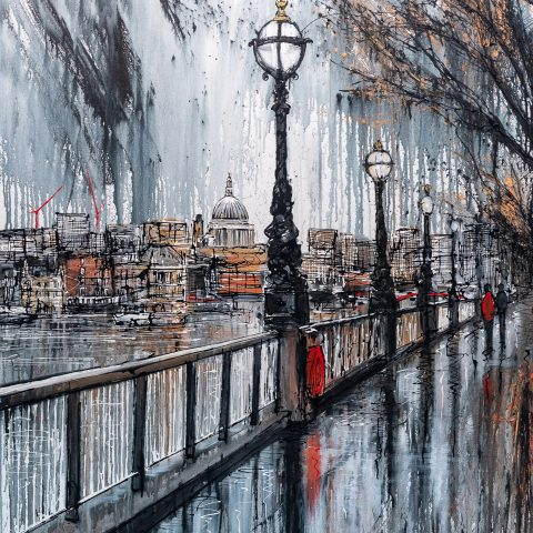 Thames Stroll by Paul Kenton, UK contemporary cityscape artist, an original painting from his London Collection
