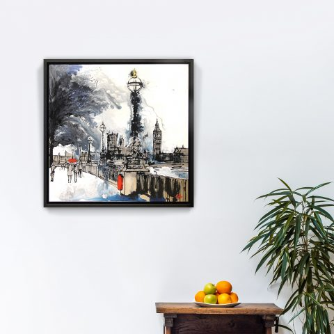 City Mist by Paul Kenton, UK contemporary cityscape artist, an original painting from his London Collection