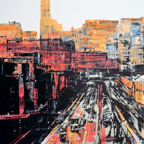 Chasing Light by Paul Kenton, UK contemporary cityscape artist, a limited edition print from his New York Collection