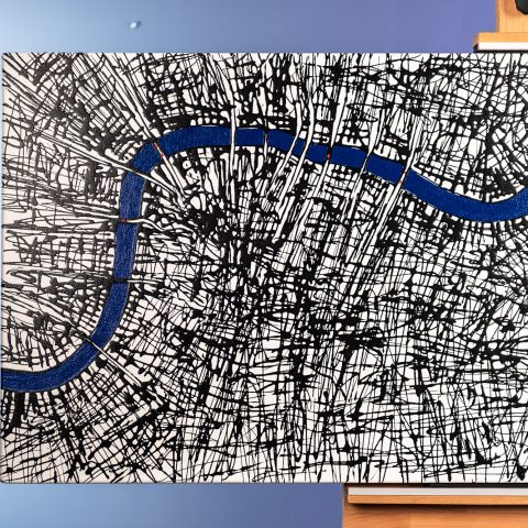London Current by Paul Kenton, UK Contemporary artist, a River Thames arial view original painting from his London Art Collection