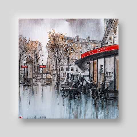 Parisian Life by Paul Kenton, UK contemporary cityscape artist, an original painting from his Paris Collection
