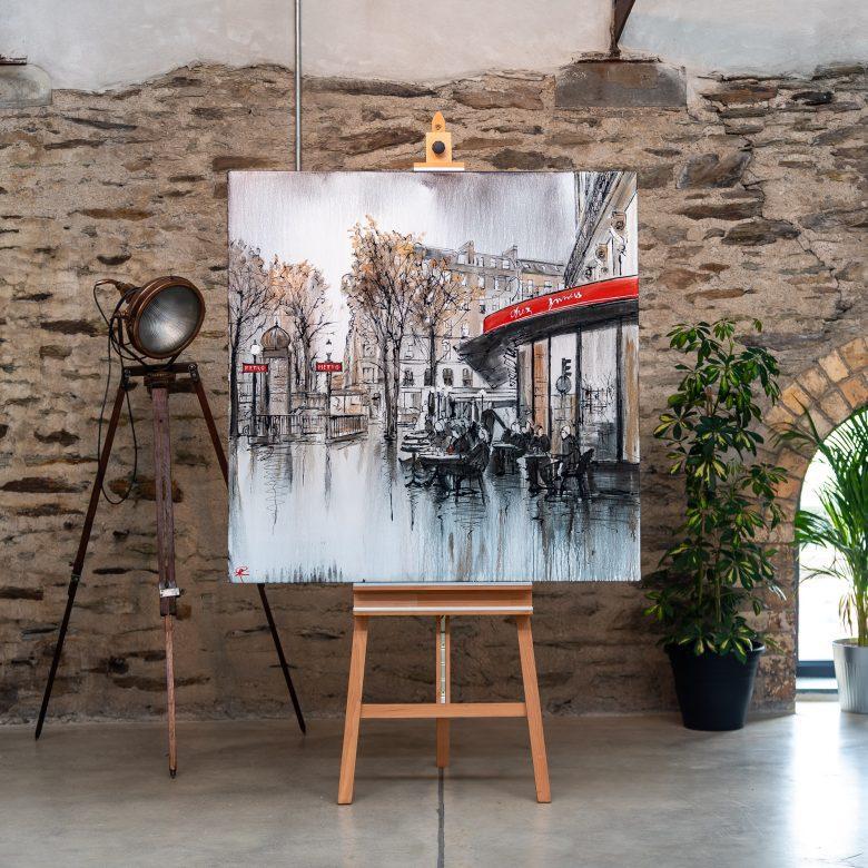 Parisian Life by Paul Kenton, UK contemporary cityscape artist, an original Paris café painting from his Paris Collection