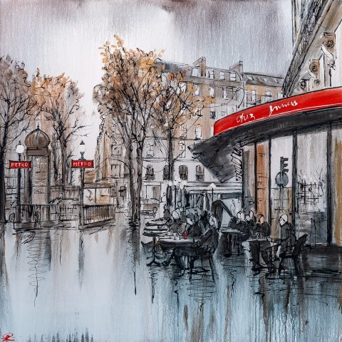 Parisian Life - A Paris cityscape original painting by Paul Kenton