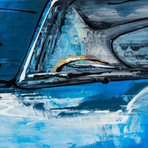 Blue Beauty by Paul Kenton, UK Contemporary artist, an E-Type Jaguar painting from his Motorsports collection