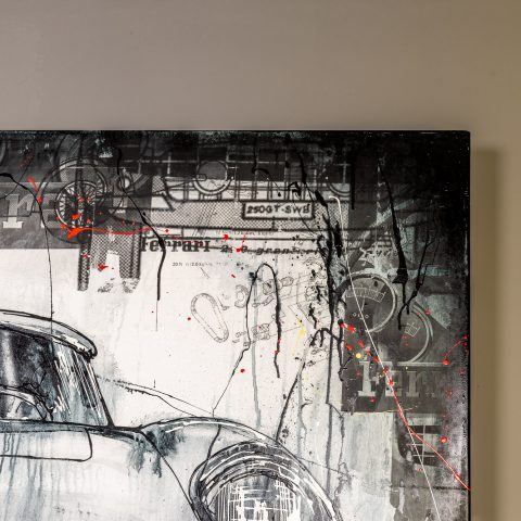 Ferrari Dino by Paul Kenton, UK Contemporary artist, a painting from his Motorsports art collection