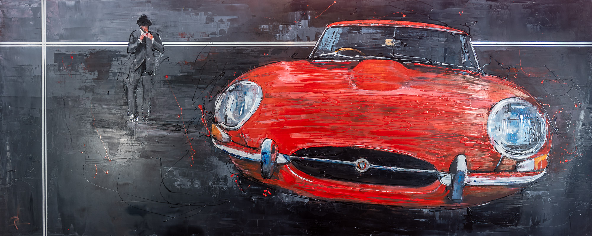 Ready and Waiting by Paul Kenton, UK Contemporary artist, an original painting from his Motorsports collection