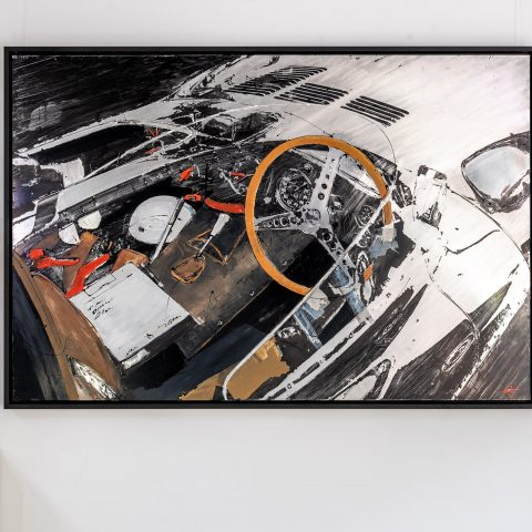 Start with the Checklist by Paul Kenton, UK Contemporary artist, an original painting from his Motorsports collection