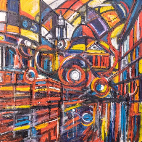 St Paul's Abstract - An Original Abstract London Painting by UK Contemporary Cityscape Artist Paul Kenton