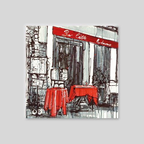 Al Fresco Living by Paul Kenton, UK contemporary cityscape artist, a limited edition print of a cafe scene from his Paris Collection