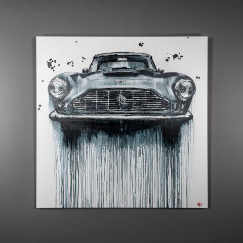 Mono Martin by Paul Kenton, UK Contemporary artist, an Aston Martin DB5 painting from his Motorsports art collection