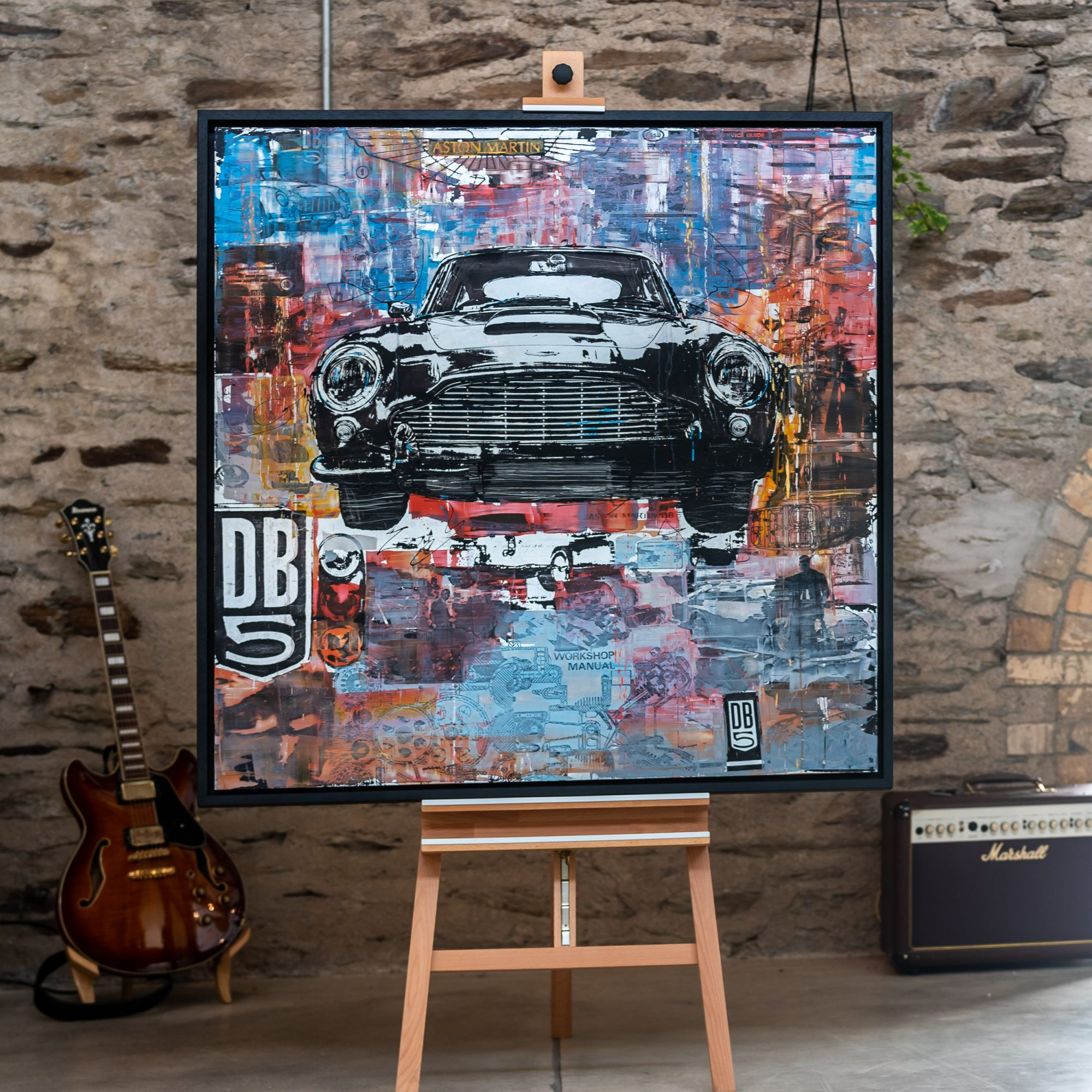 Aston Martin DB5 by Paul Kenton, UK Contemporary artist, an original painting from his Motorsports collection