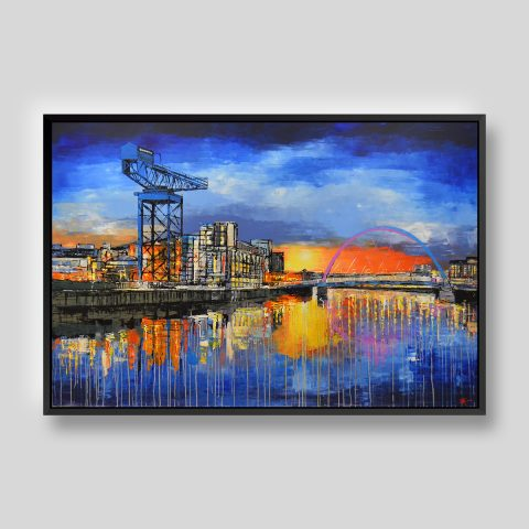 Glowing Glasgow by Paul Kenton, UK contemporary cityscape artist, a limited edition print of Glasgow's River Clyde