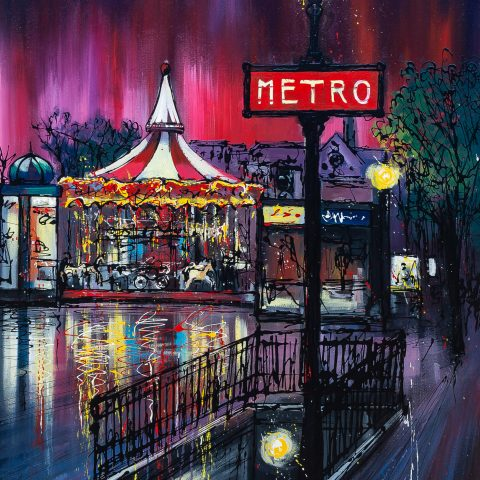 Metro Fair by Paul Kenton, UK contemporary cityscape artist, an original painting from his Paris Collection