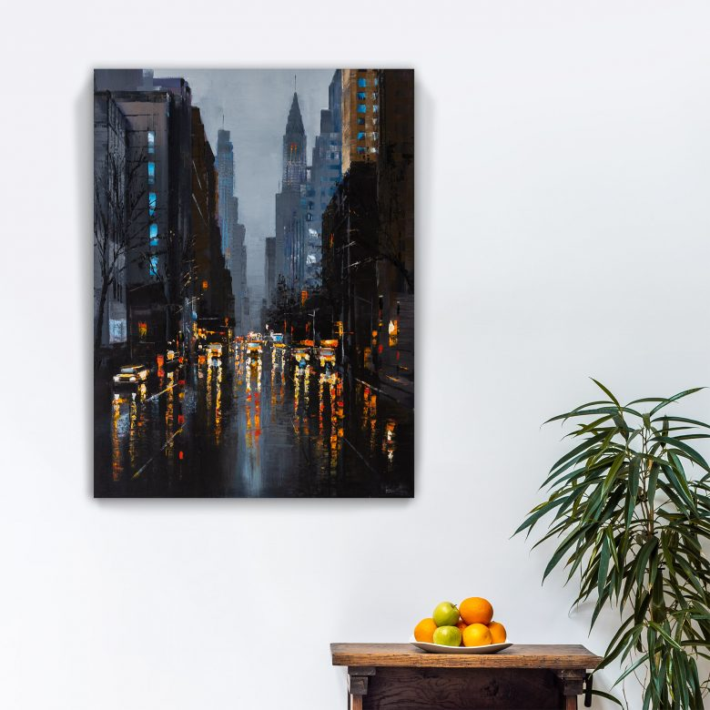 City Sparks by Paul Kenton, UK contemporary cityscape artist, an original painting from his New York Collection