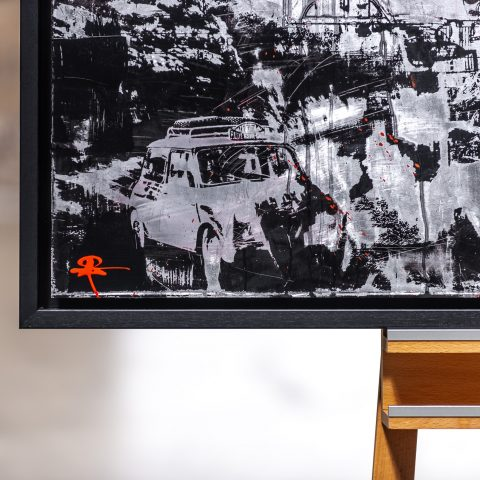 Mini Red by Paul Kenton, UK Contemporary artist, an original painting from his Motorsports collection