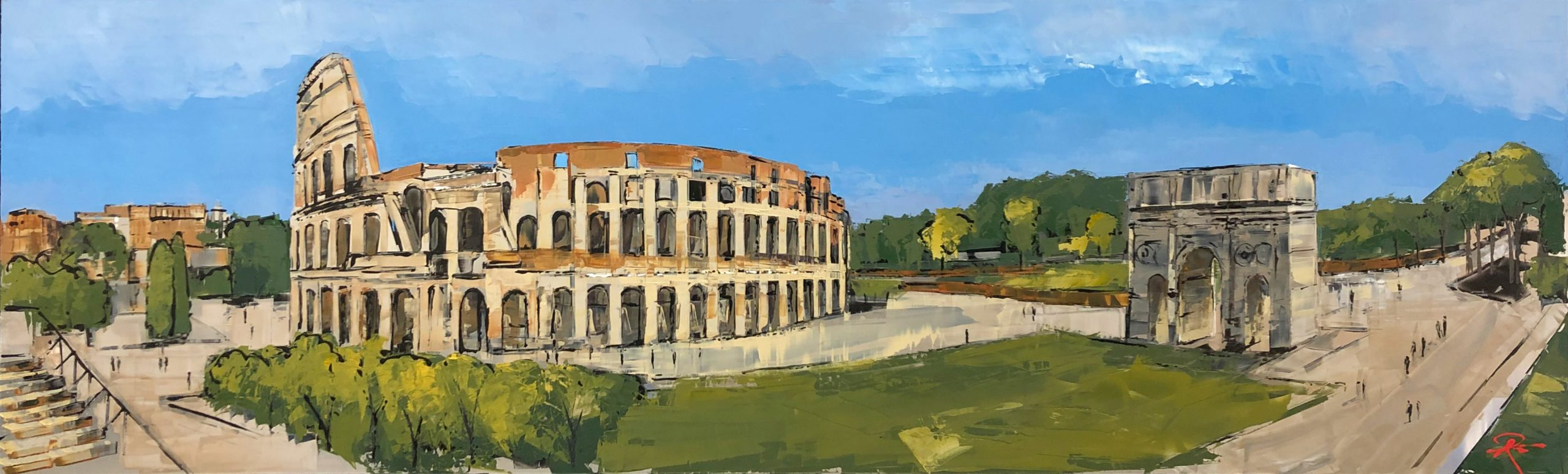 Sights of Rome - Original Painting by UK Contemporary Artist Paul Kenton, from the International Cityscapes collection