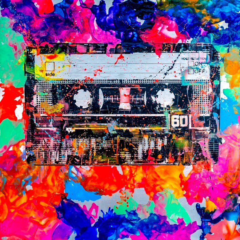 Cassette Tape by Paul Kenton, UK contemporary artist, an original painting from his Retro Collection