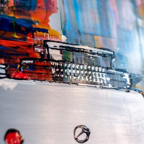 Film Camera by Paul Kenton, UK contemporary artist, an original painting from his Retro Collection