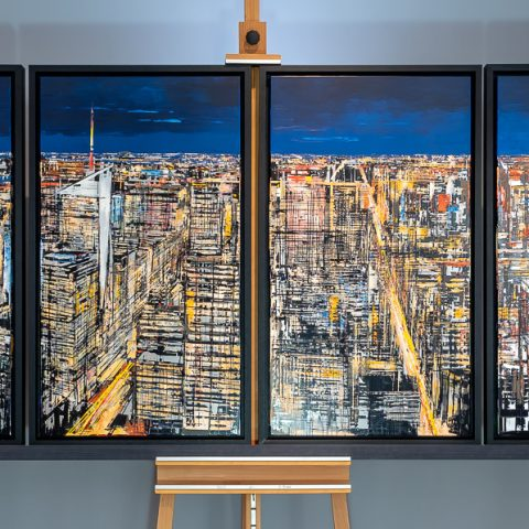 New York Hexaptych by Paul Kenton, UK contemporary cityscape artist, an original painting from his New York Collection