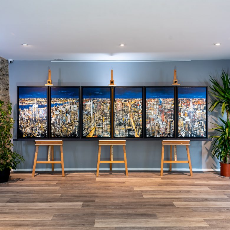 New York Hexaptych by Paul Kenton, UK contemporary cityscape artist, an original New York skyline painting from his New York Collection