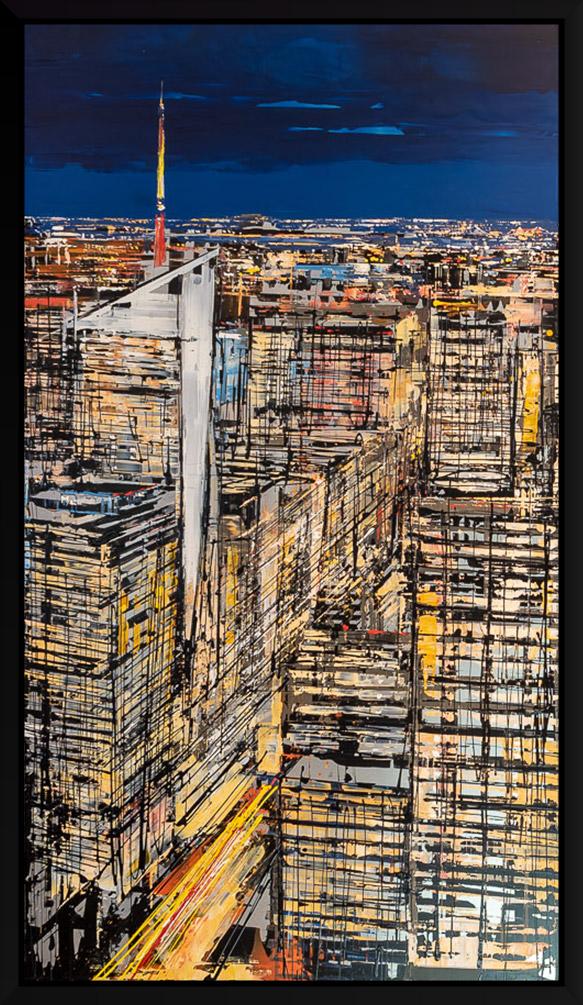 New York Hexaptic - an original painting of the Manhattan cityscape by UK Artist, Paul Kenton