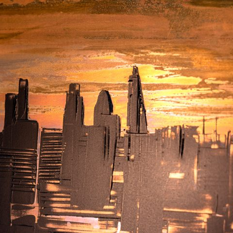 Sunset Transformation by Paul Kenton, UK contemporary cityscape artist, an original painting from his London Collection