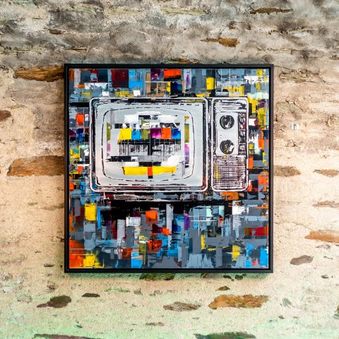 Test Card TV by Paul Kenton, UK contemporary artist, an original painting from his Retro Collection