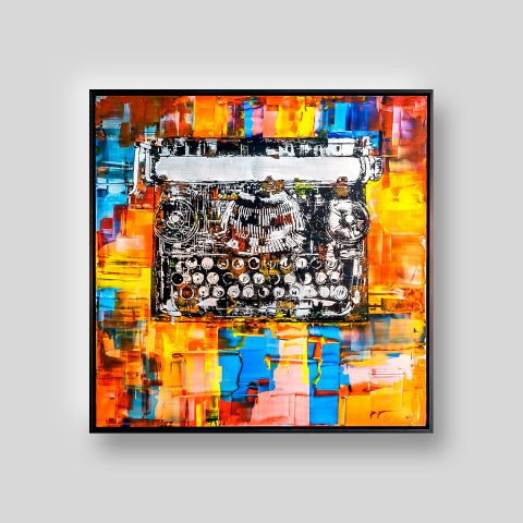 Typewriter by Paul Kenton, UK contemporary artist, an original painting from his Retro Collection