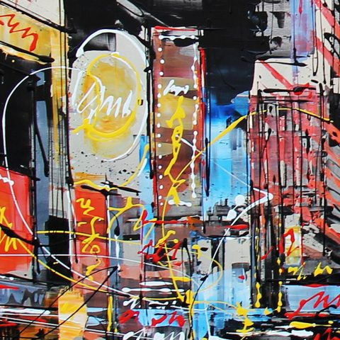 Dynamic Distance by Paul Kenton, UK contemporary cityscape artist, a limited edition print of Times Square from his New York Collectio