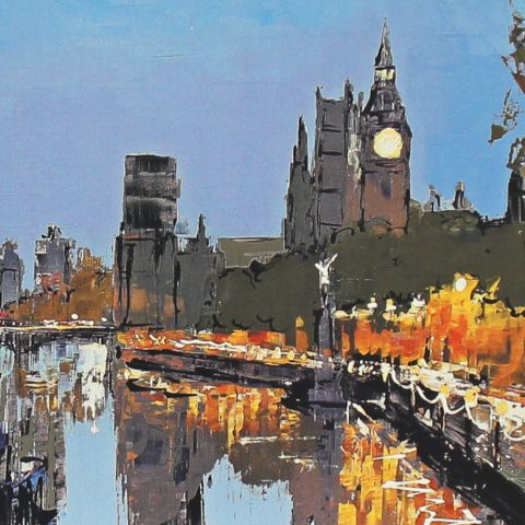 Riverside Wander by Paul Kenton, UK contemporary cityscape artist, a limited edition print from his London Collection