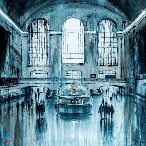 Time Goes By by Paul Kenton, UK contemporary cityscape artist, an original painting from his New York Collection