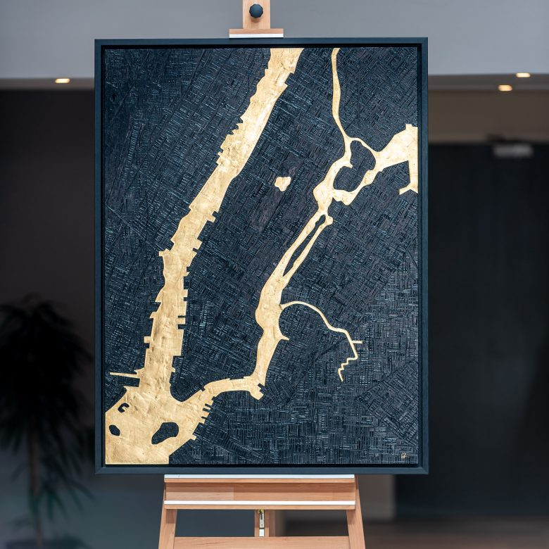 Manhattan Shines by Paul Kenton, UK Contemporary Cityscape Artist, an Original New York River Map Painting from his New York Collection