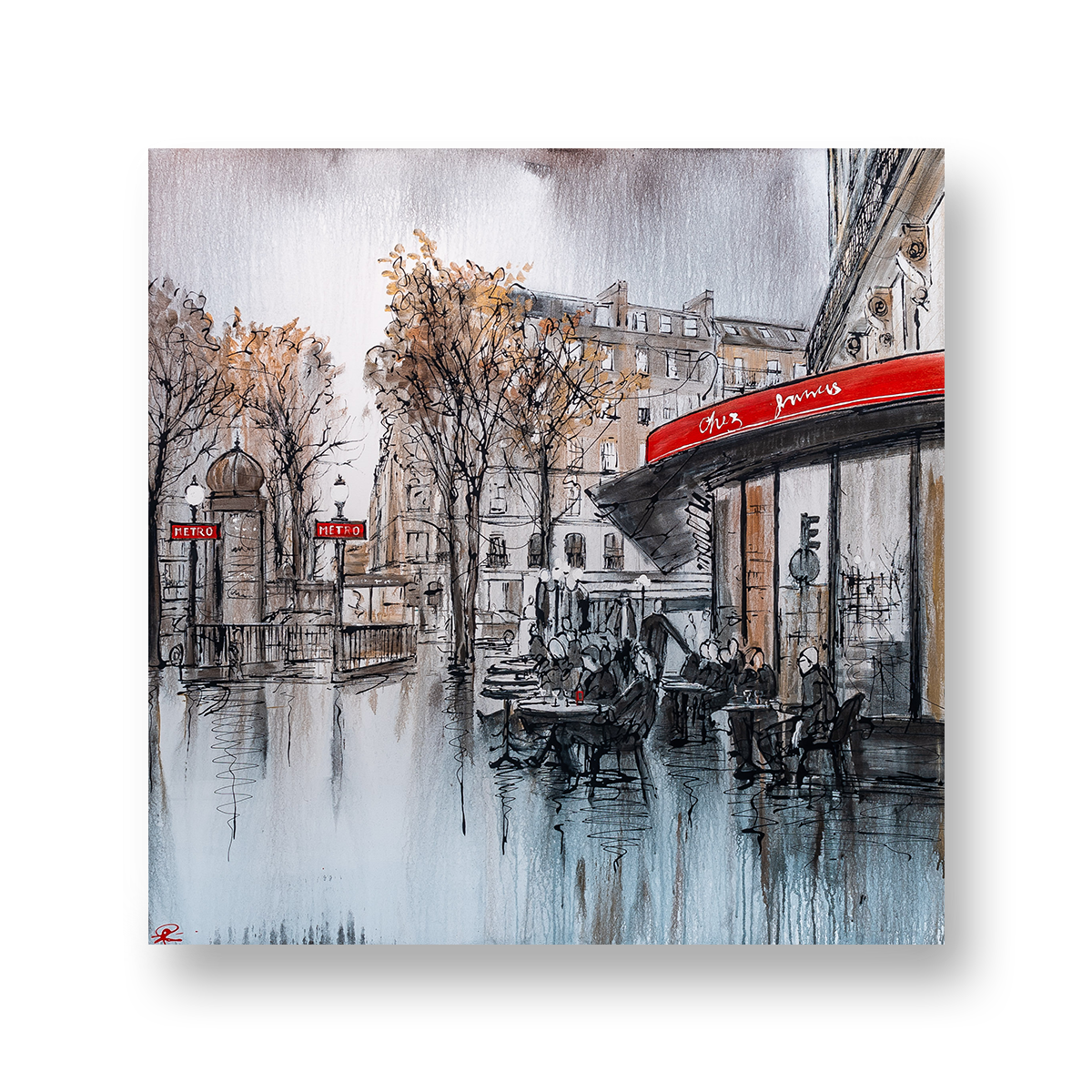 Parisan Life by Paul Kenton, UK contemporary cityscape artist, an original painting from his Paris Collection