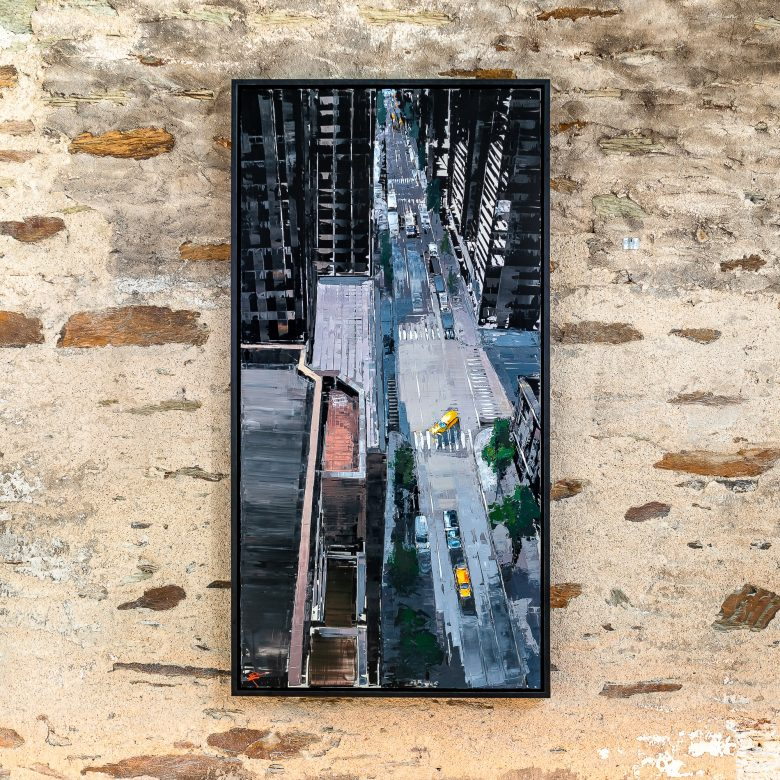 Towering Perspective by Paul Kenton, UK contemporary cityscape artist, an original New York street painting from his New York Collection