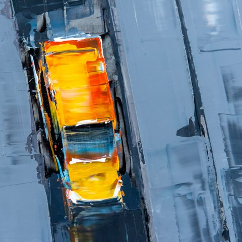 Towering Perspective by Paul Kenton, UK contemporary cityscape artist, an original painting from his New York Collection
