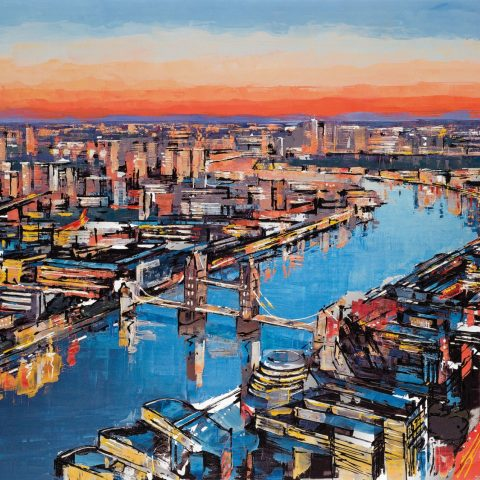 Dusk til Dawn by Paul Kenton, UK contemporary cityscape artist, a limited edition print from his London Collection