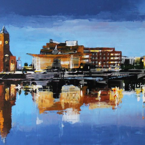 Blue Bay by Paul Kenton, UK contemporary cityscape artist, a limited edition print of Cardiff Bay