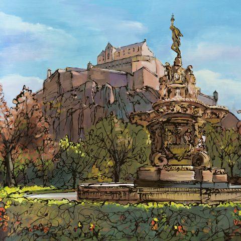 Edinburgh Summer by Paul Kenton, UK contemporary cityscape artist, a limited edition print of Edinburgh Castle