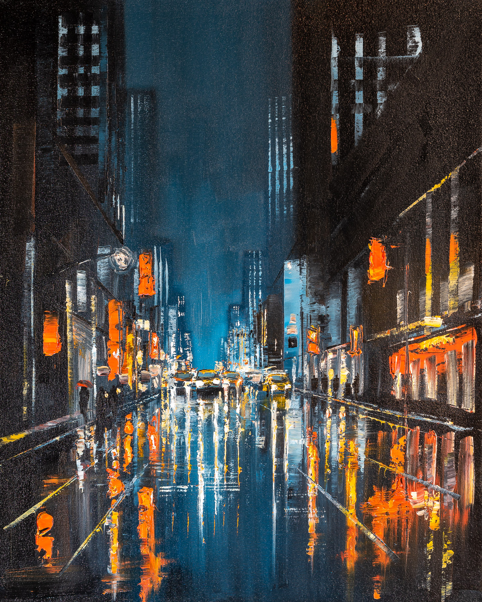 Light Up The Dark by Paul Kenton, UK contemporary cityscape artist, an original painting from his New York Collection