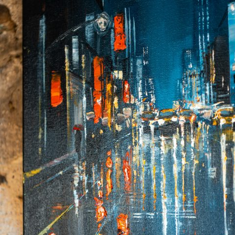 Light Up The Dark - an original painting of the New York cityscape by UK Artist, Paul Kenton