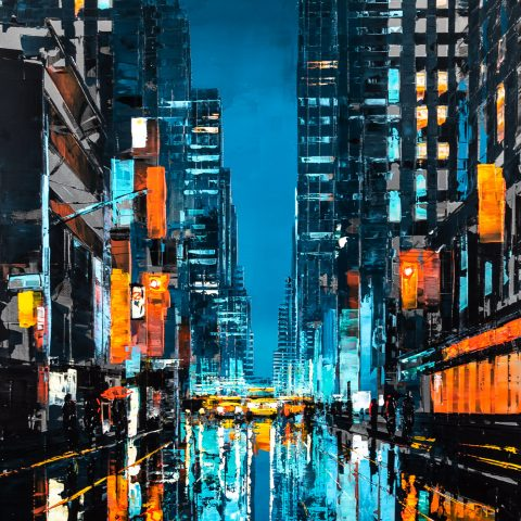 New York City Blues by Paul Kenton, UK contemporary cityscape artist, an original painting from his New York Collection