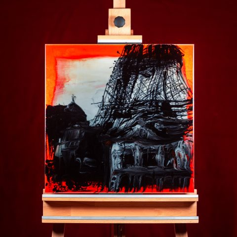 Sanguine Paris by Paul Kenton, UK contemporary cityscape artist, an original painting of the Eiffel Tower from his Paris Collection