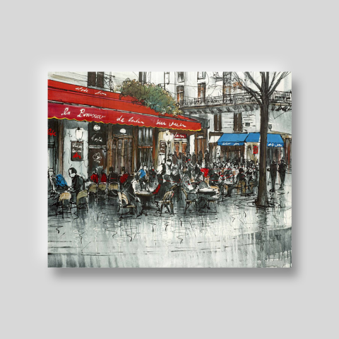 Scene to be Scene by Paul Kenton, UK contemporary cityscape artist, a limited edition print of a cafe scene from his Paris Collection