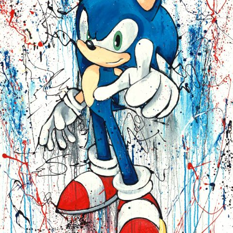 Watch Out by Paul Kenton, UK contemporary artist, a limited edition print in celebration of Sonic the Hedgehog's 25th Anniversary
