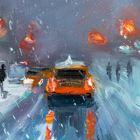 New York Winter by Paul Kenton, UK contemporary cityscape artist, an original painting from his New York Collection