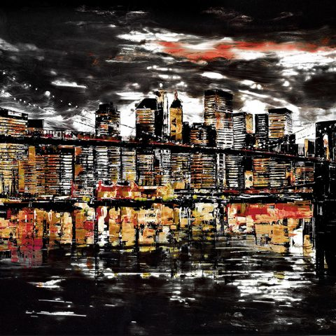 Urban Abyss by Paul Kenton, UK contemporary cityscape artist, a limited edition print of Brooklyn Bridge from his New York Collection
