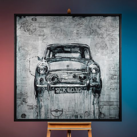 Mini Cooper by Paul Kenton, UK Contemporary artist, a painting from the Motorsports collection