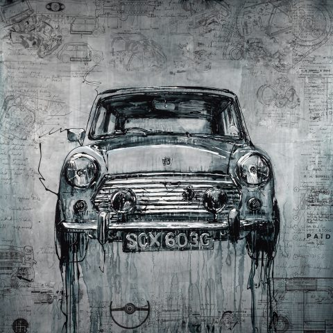 Mini Cooper by Paul Kenton, UK Contemporary artist, a painting from his Motorsports collection
